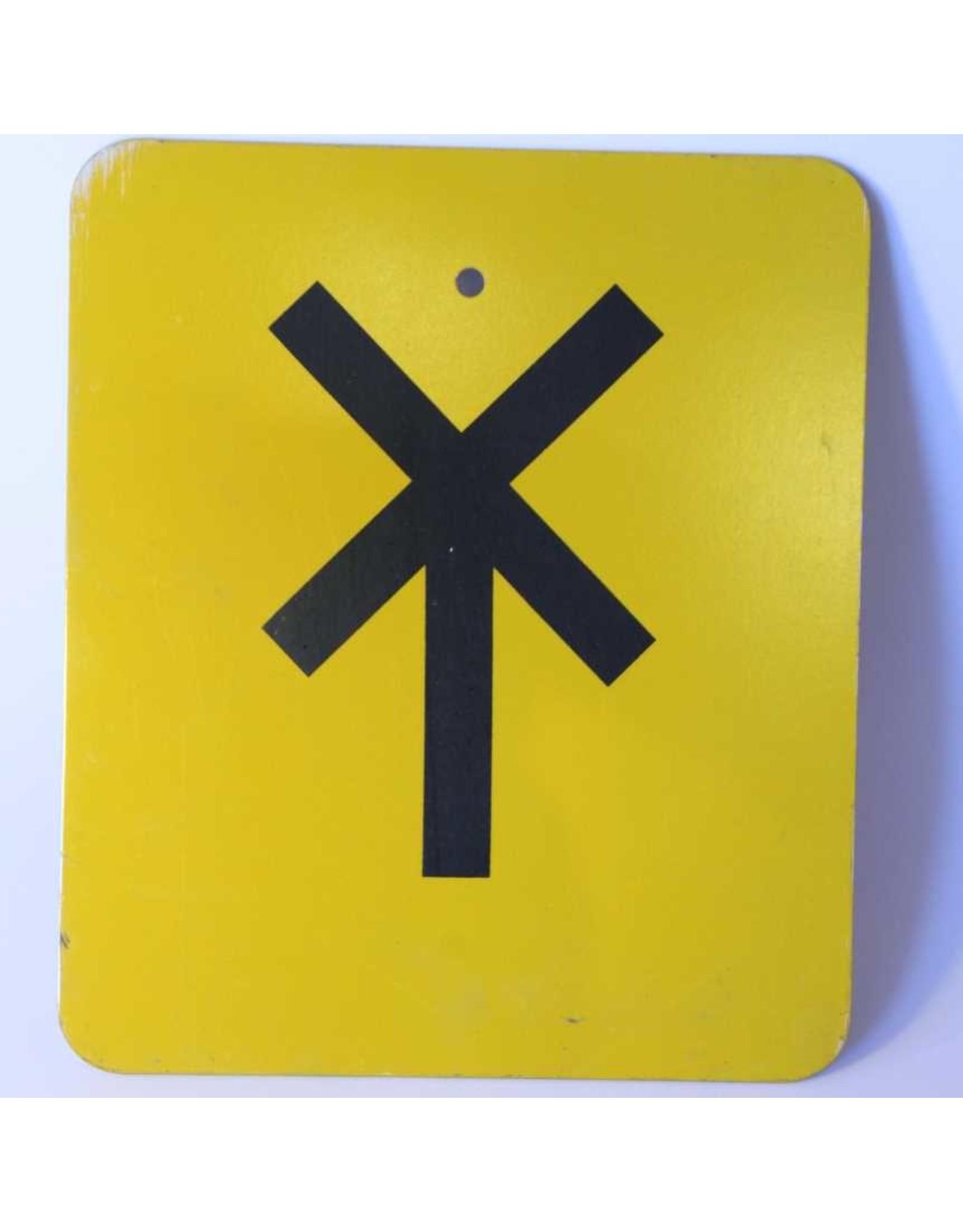 Street sign - cross, yellow, railway