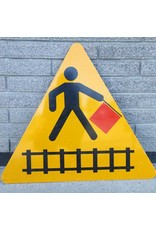 Street sign - railway crossing sign triangle flagger