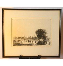Vintage framed etching