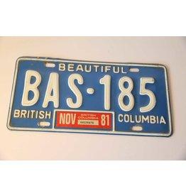 BC License plate BAS -185