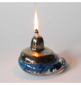 Small art glass oil lamp
