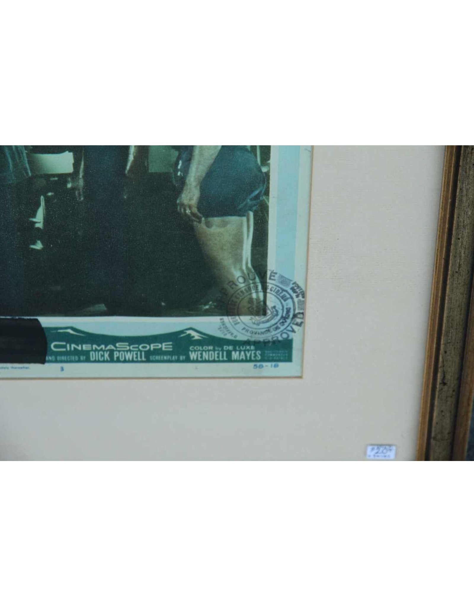 Framed vintage movie flyer