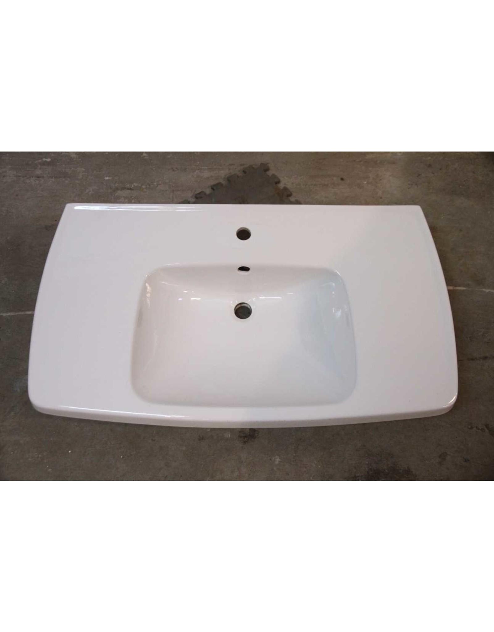 Sink - wide, no pedestal, white, porcelain