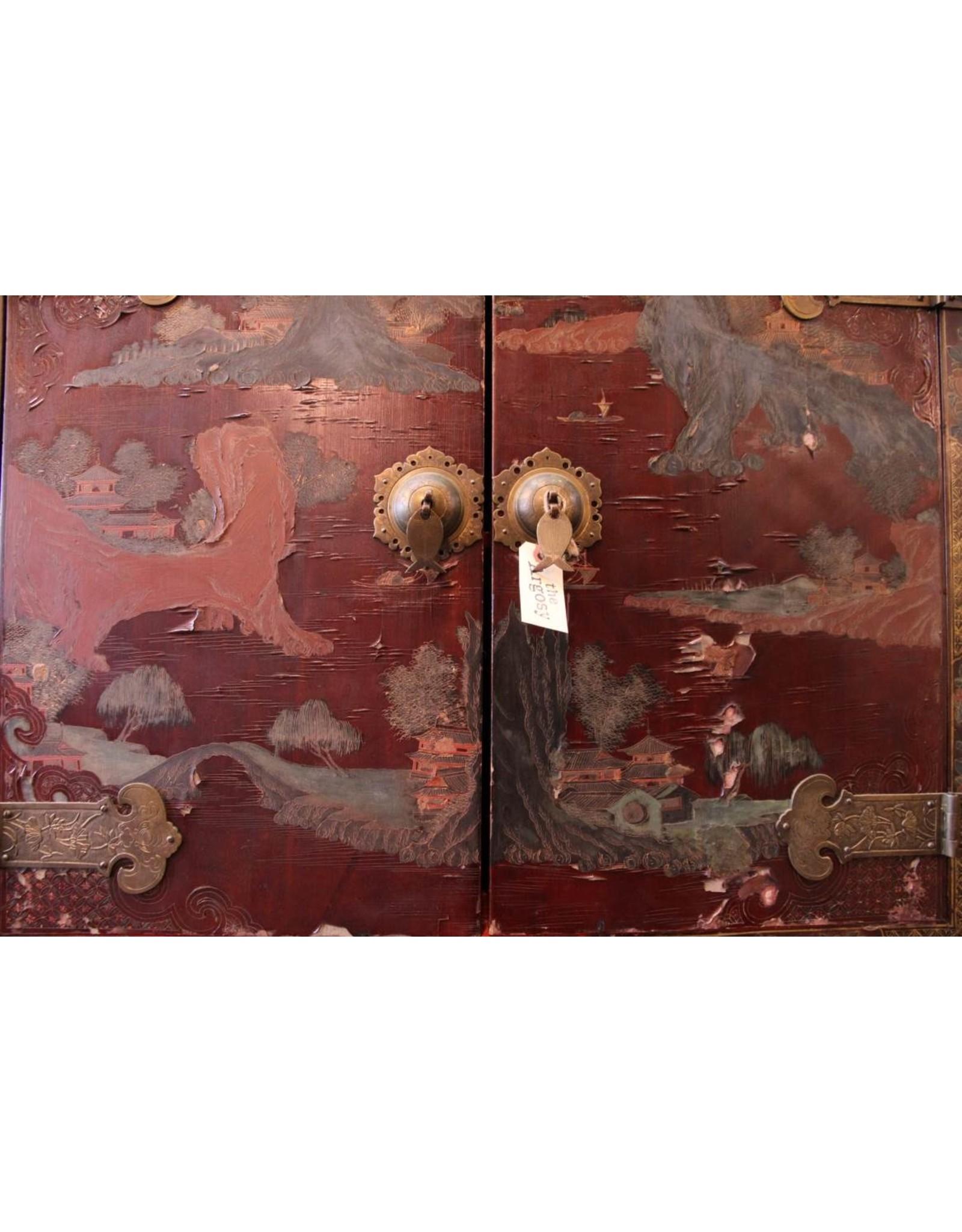 Cabinet - Asian, two door, dark purple motif