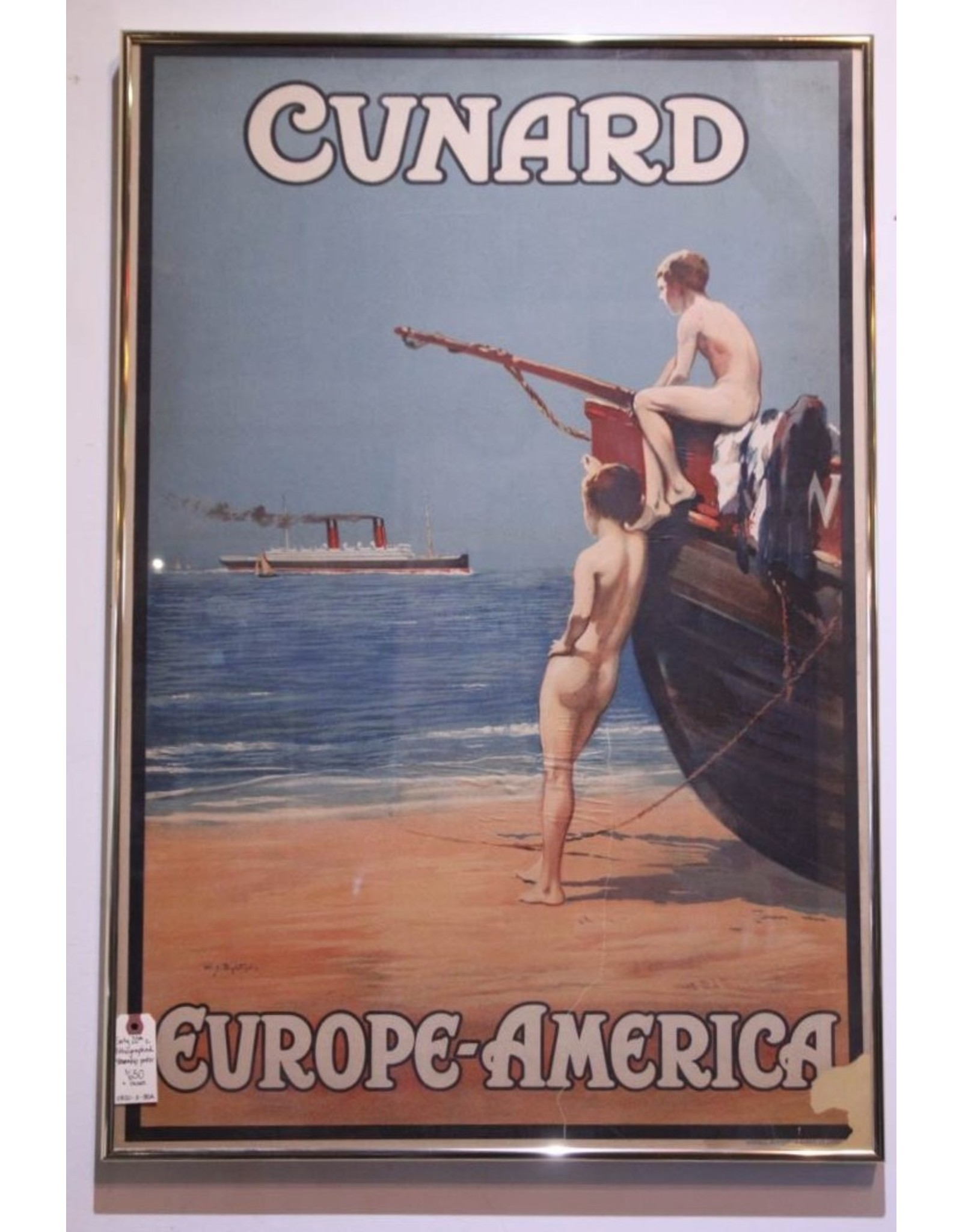 Poster - original framed lithographed poster Cunard Europe-America