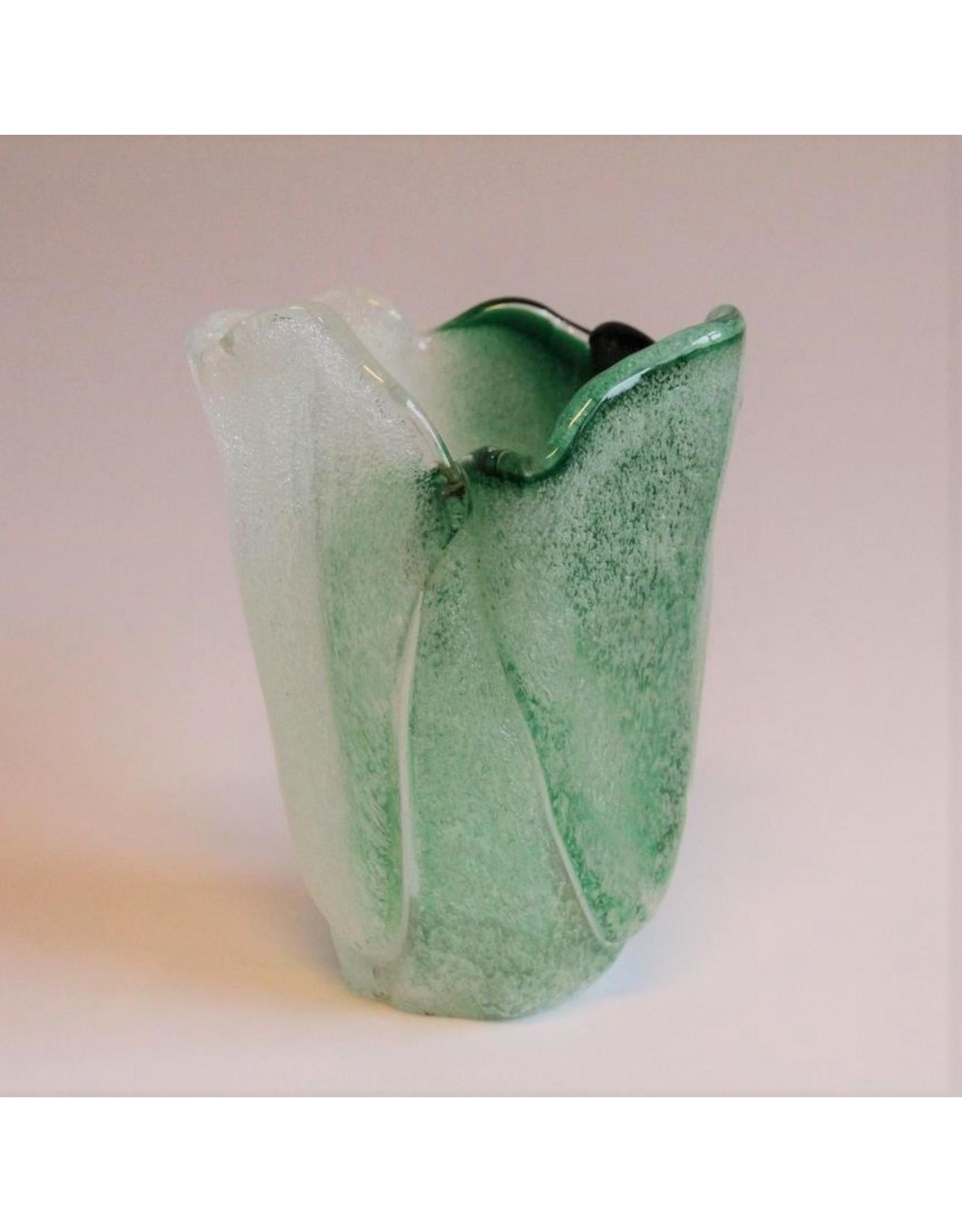 Vase - art glass, green & white, bubbled