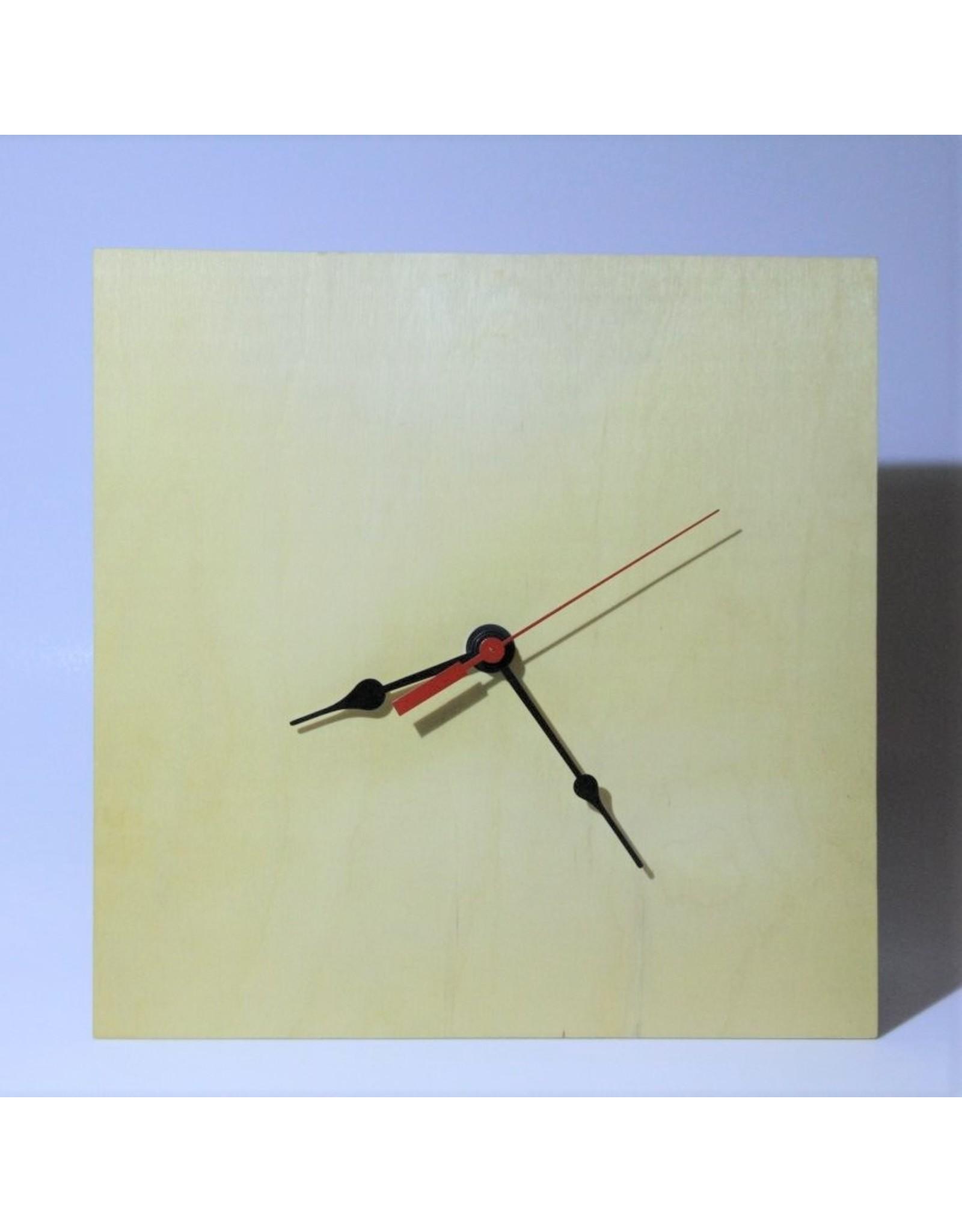 Clock - simple, square wood, quartz movement