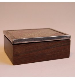 Small wooden box with silver banded lid