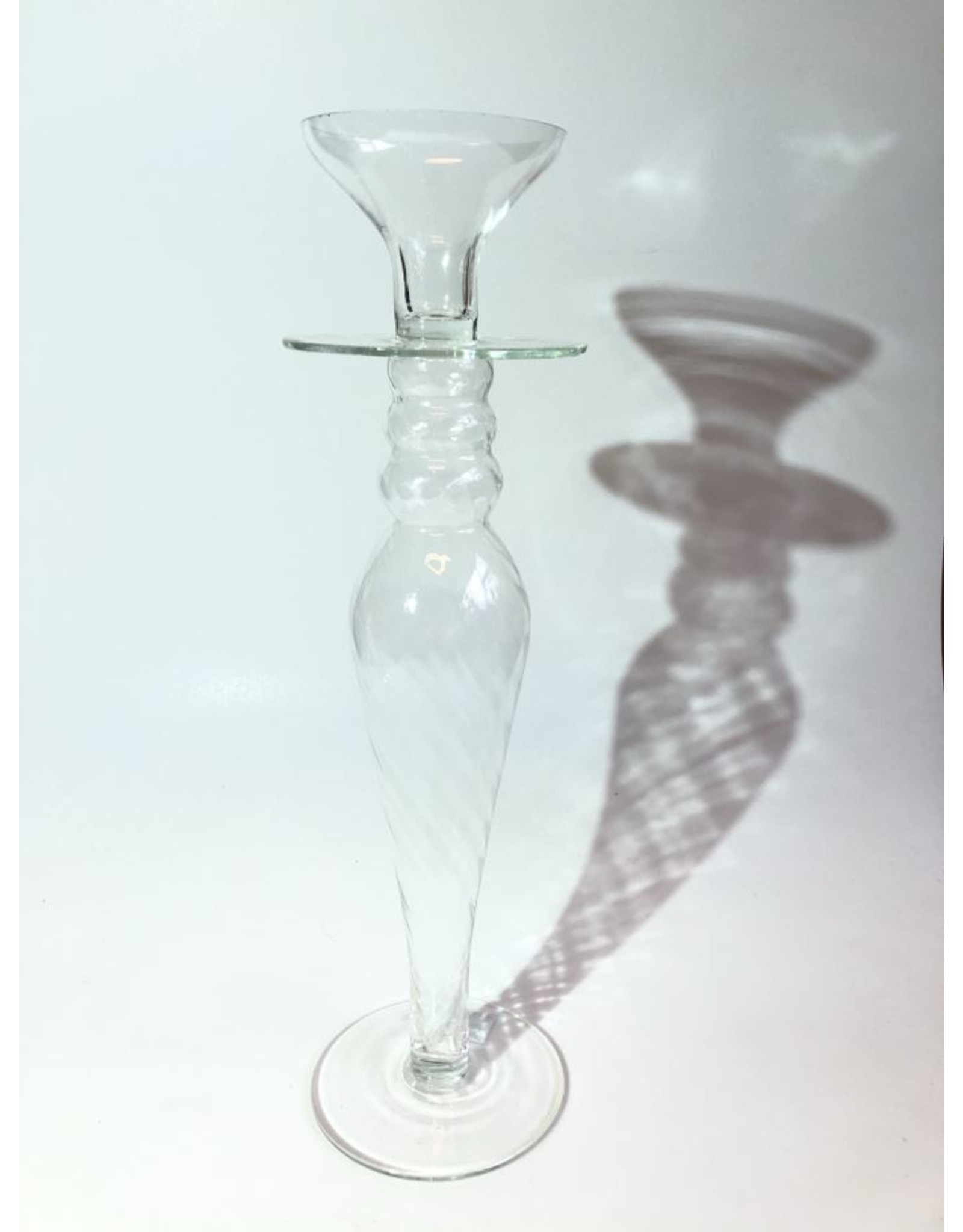 Candle holder - blown glass, clear
