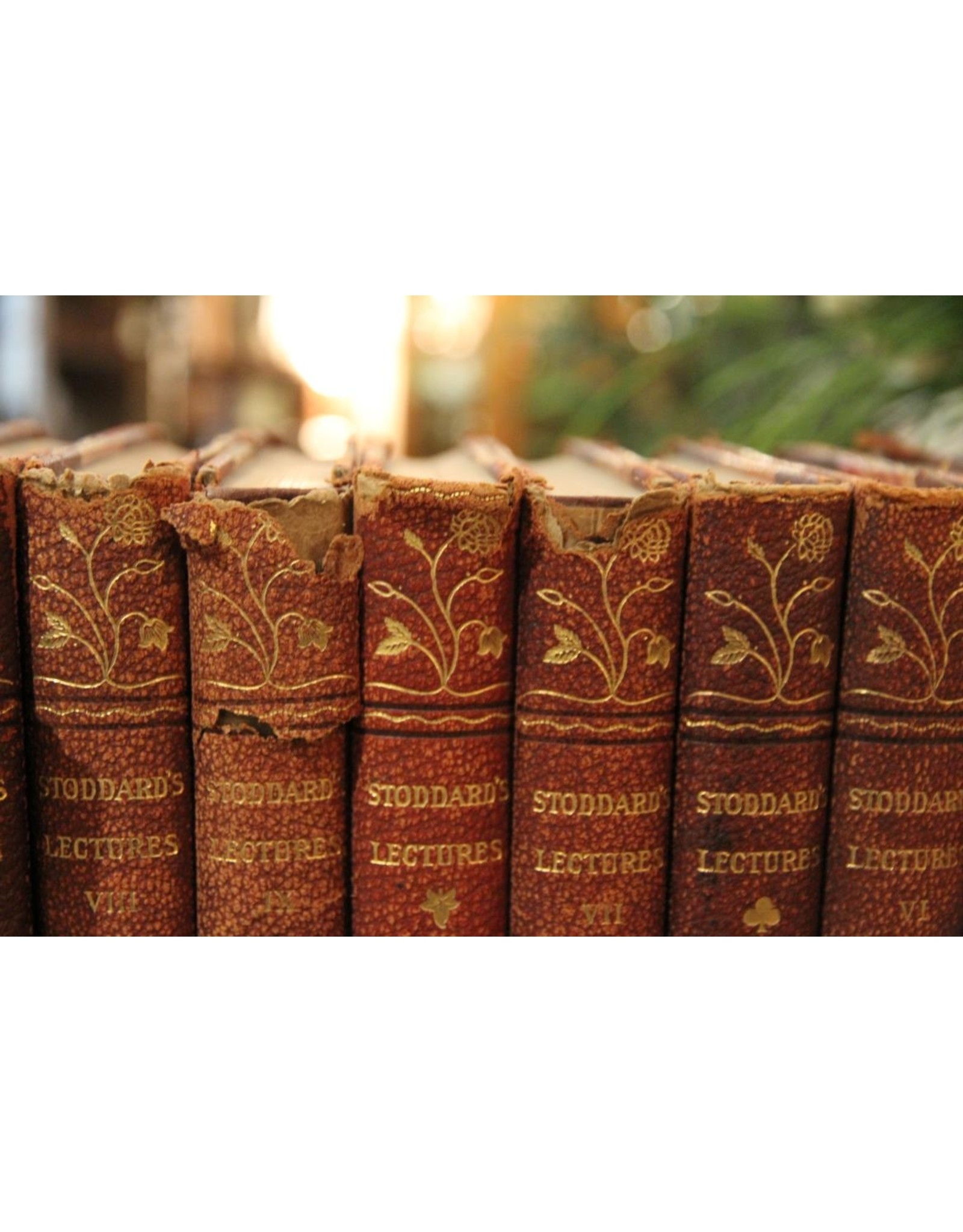 Books - set of 14 volumes of Stoddard's Lectures, 1914. leather-bound, marbled