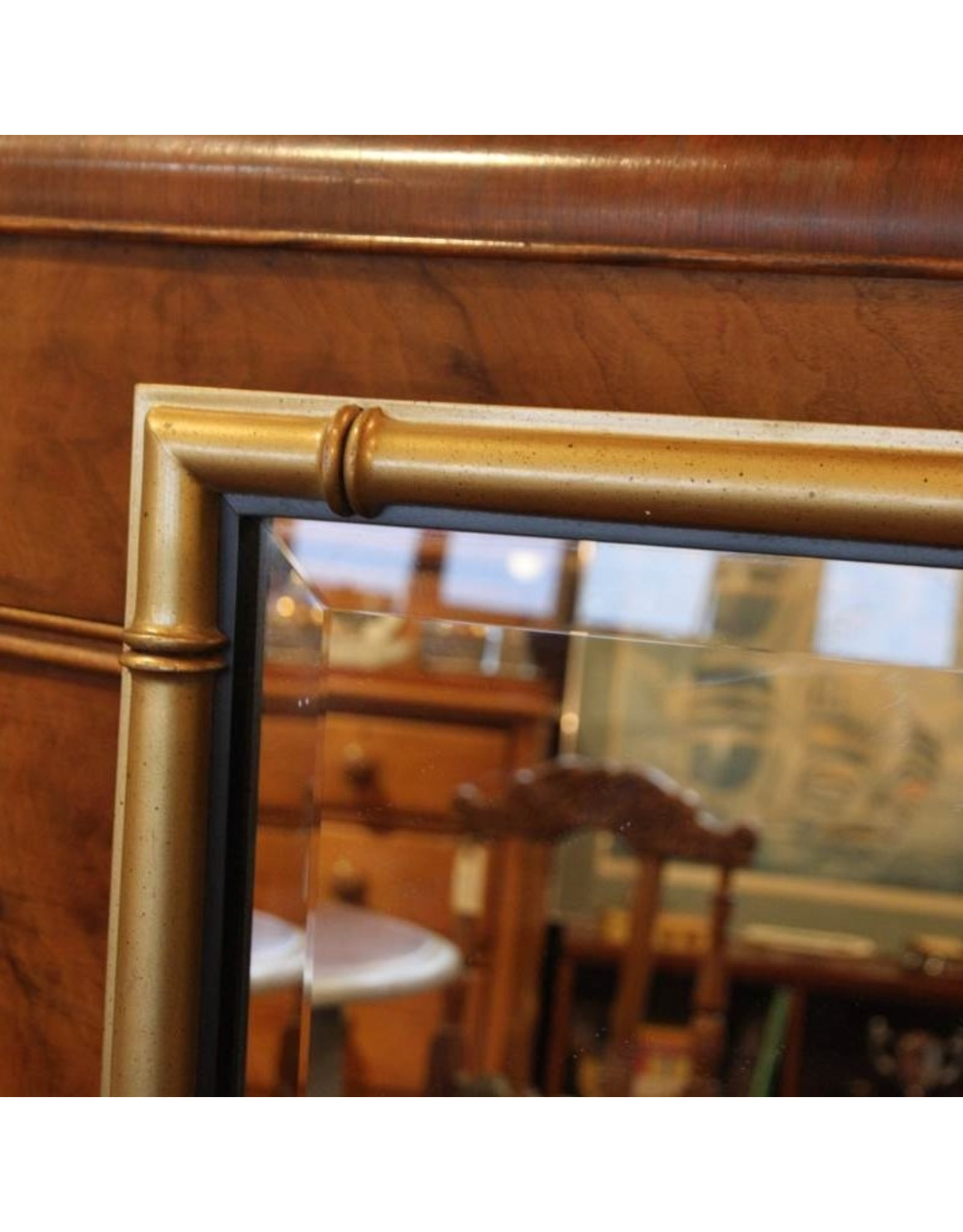 bevelled wall mirror with gold colour frame