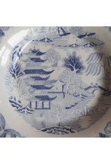 Plate - antique flow blue, impressed Wallace & Co. stamp, 1860s