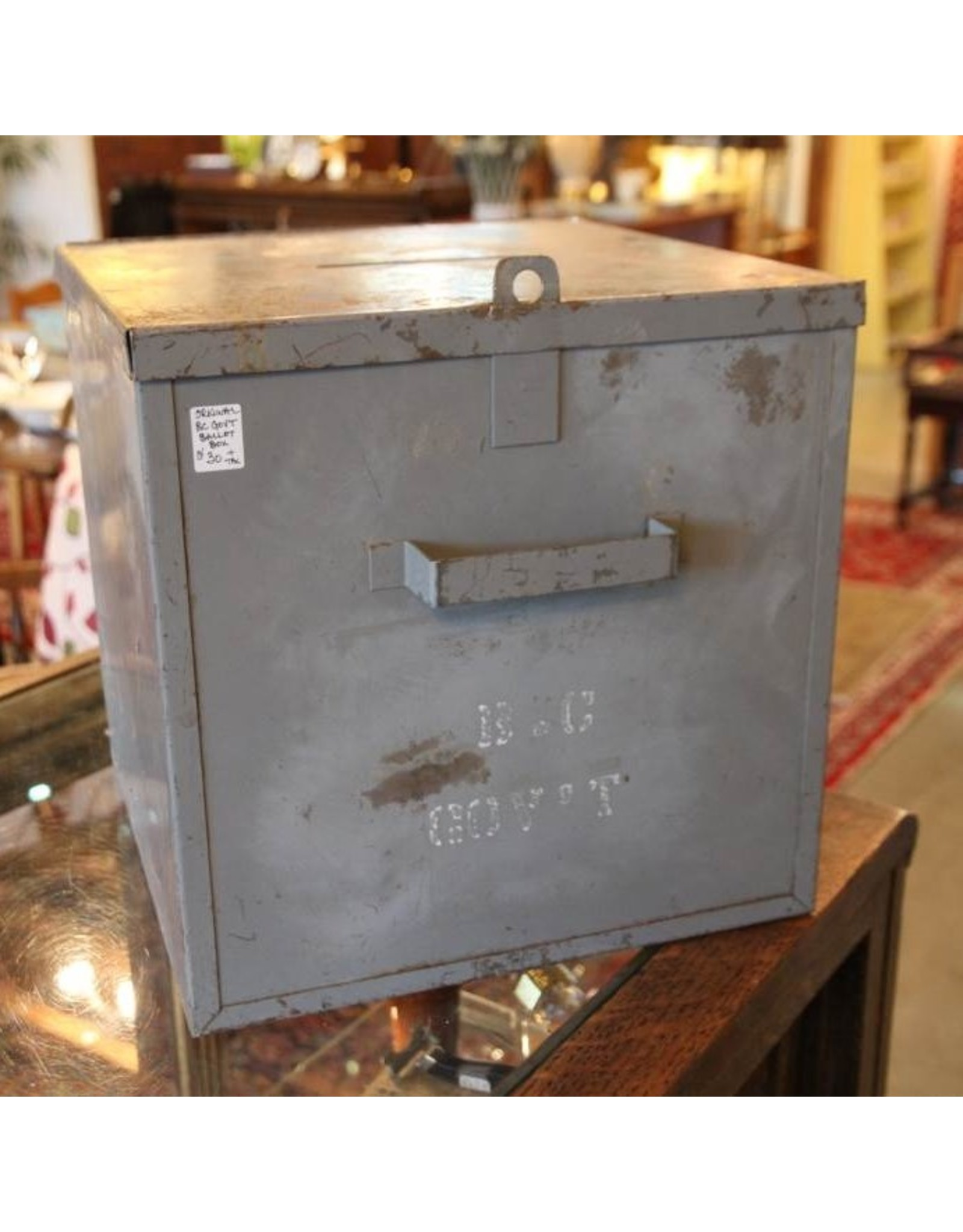 Ballot boxes - grey metal, BC government, fishermen
