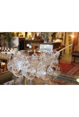 Punchbowl set - 10 cups, hooks, ladle, grapes and vines, clear glass
