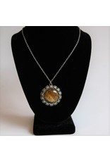 Necklace - stone and metal pendant