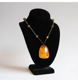 Amber pendant on rope
