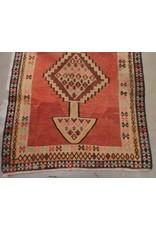 "Carpet - 5'4"" x 10', flat weave, predominantly red"