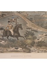 Framed engraving - Breaking Cover, hunting, horses, fox, dogs, gilt frame