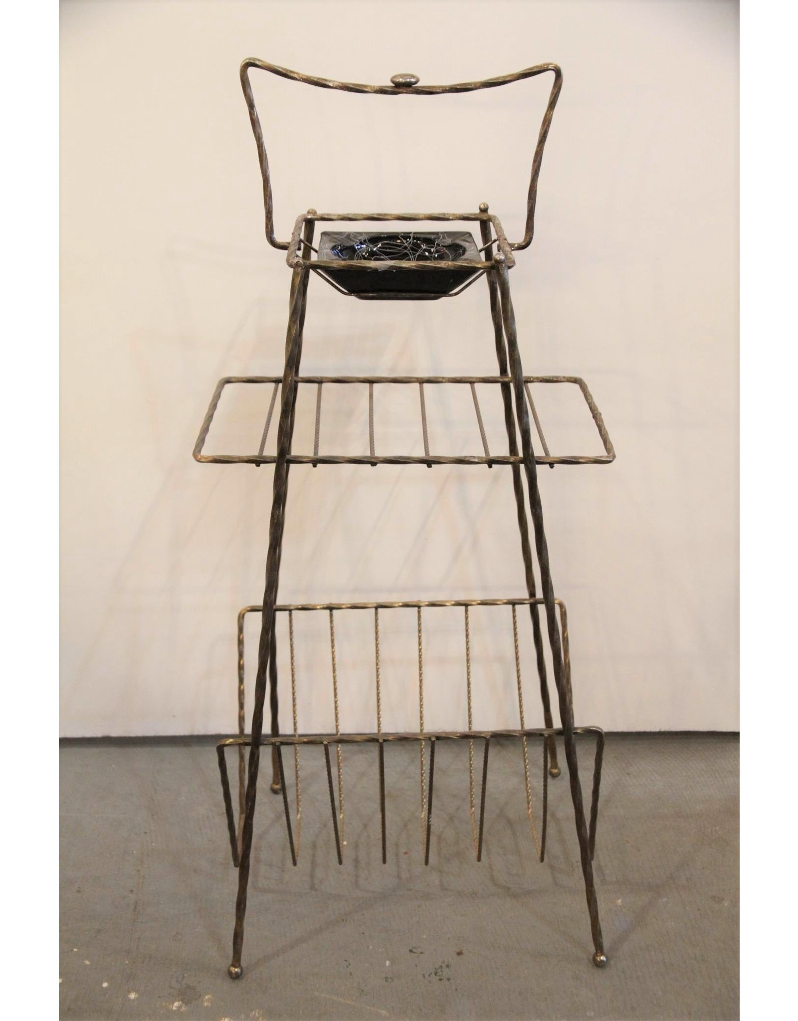 Ashtray stand - brass coloured wire, magazine rack, glass ashtray