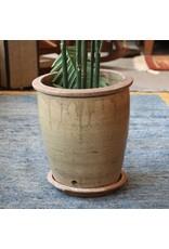 Garden pot - old pottery, drain hole, base dish