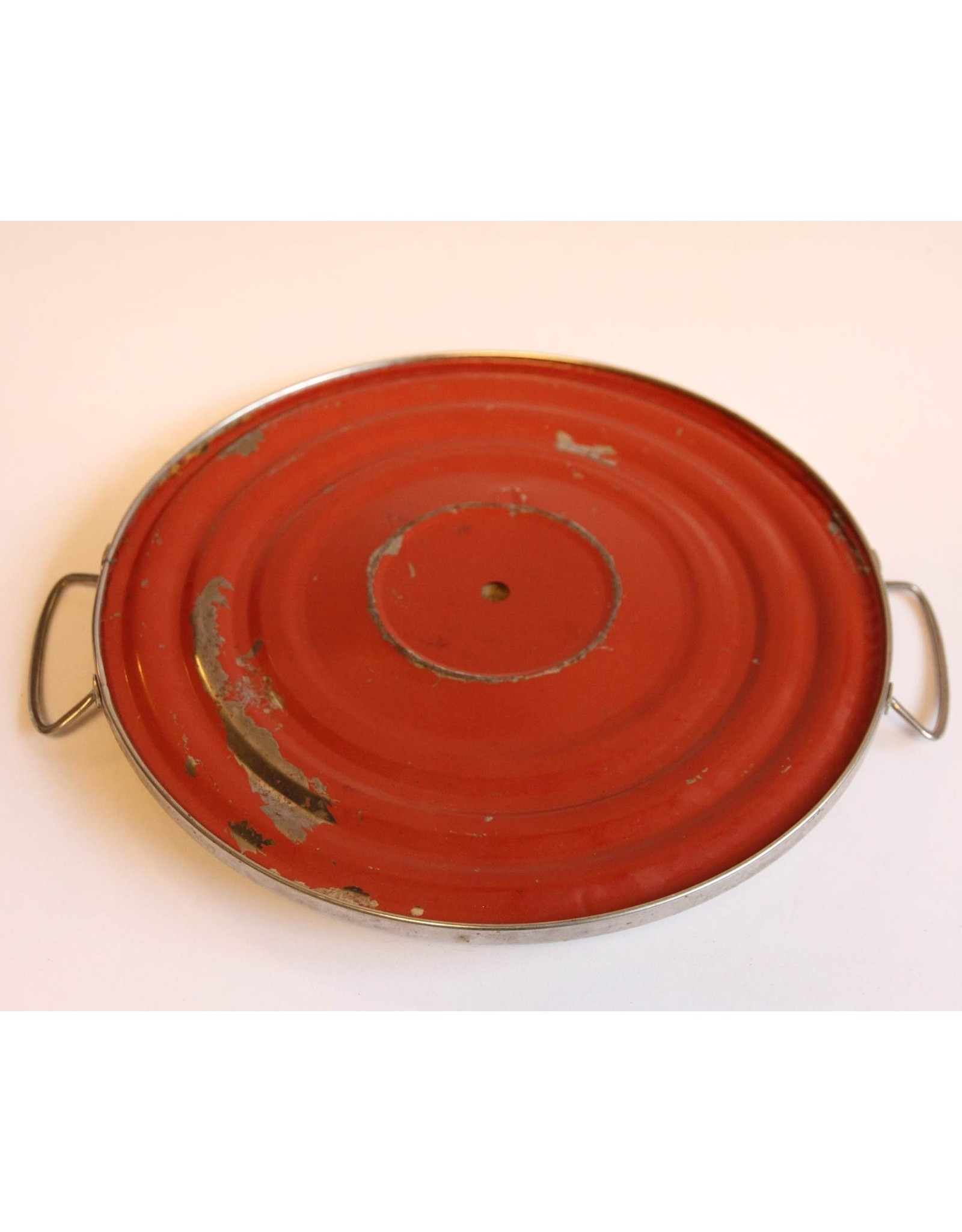 Tray - round, two handles, rose
