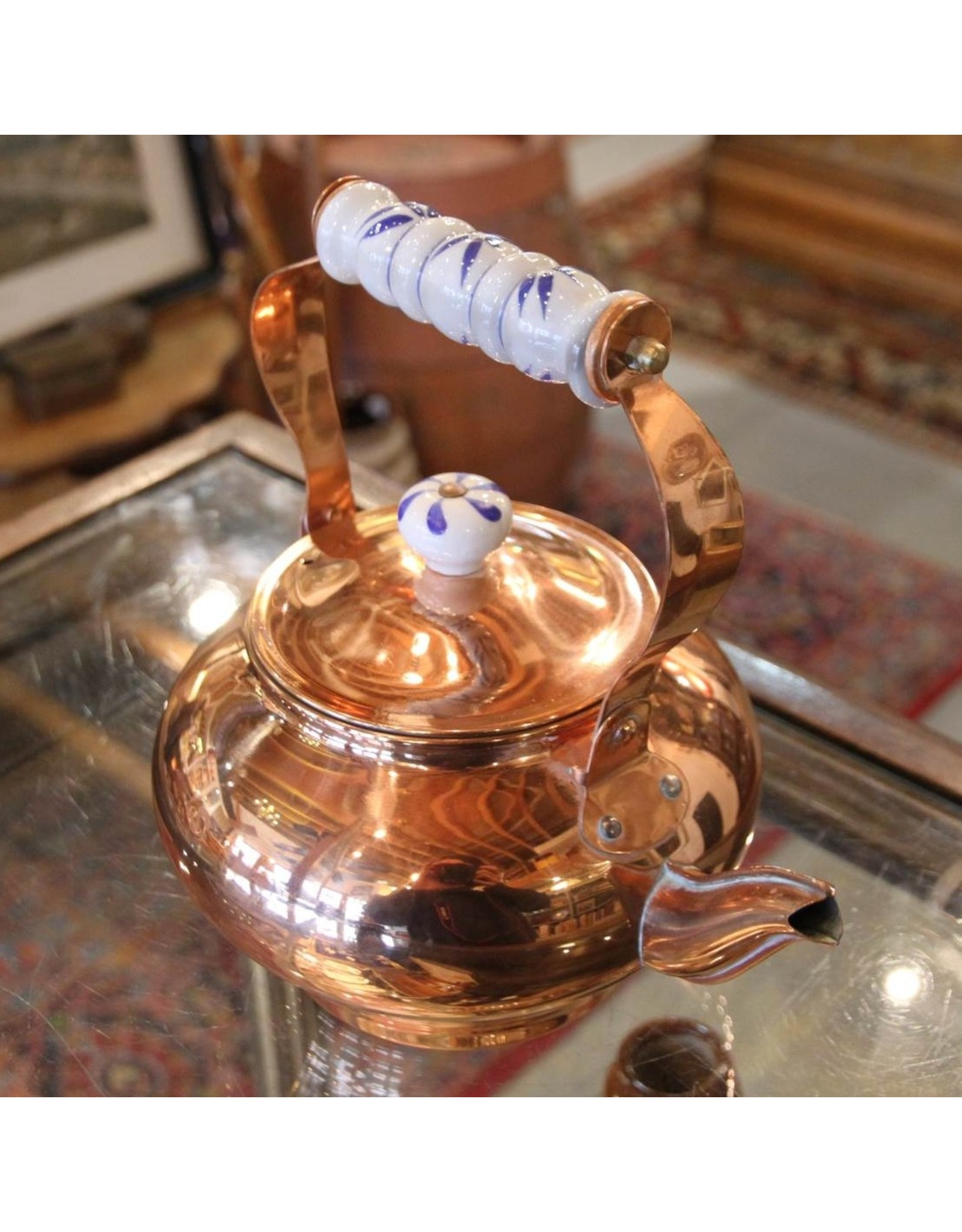Kettle - copper with pottery handle