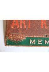 """Co-op sign - metal """"Home of Art Kidd"""""""