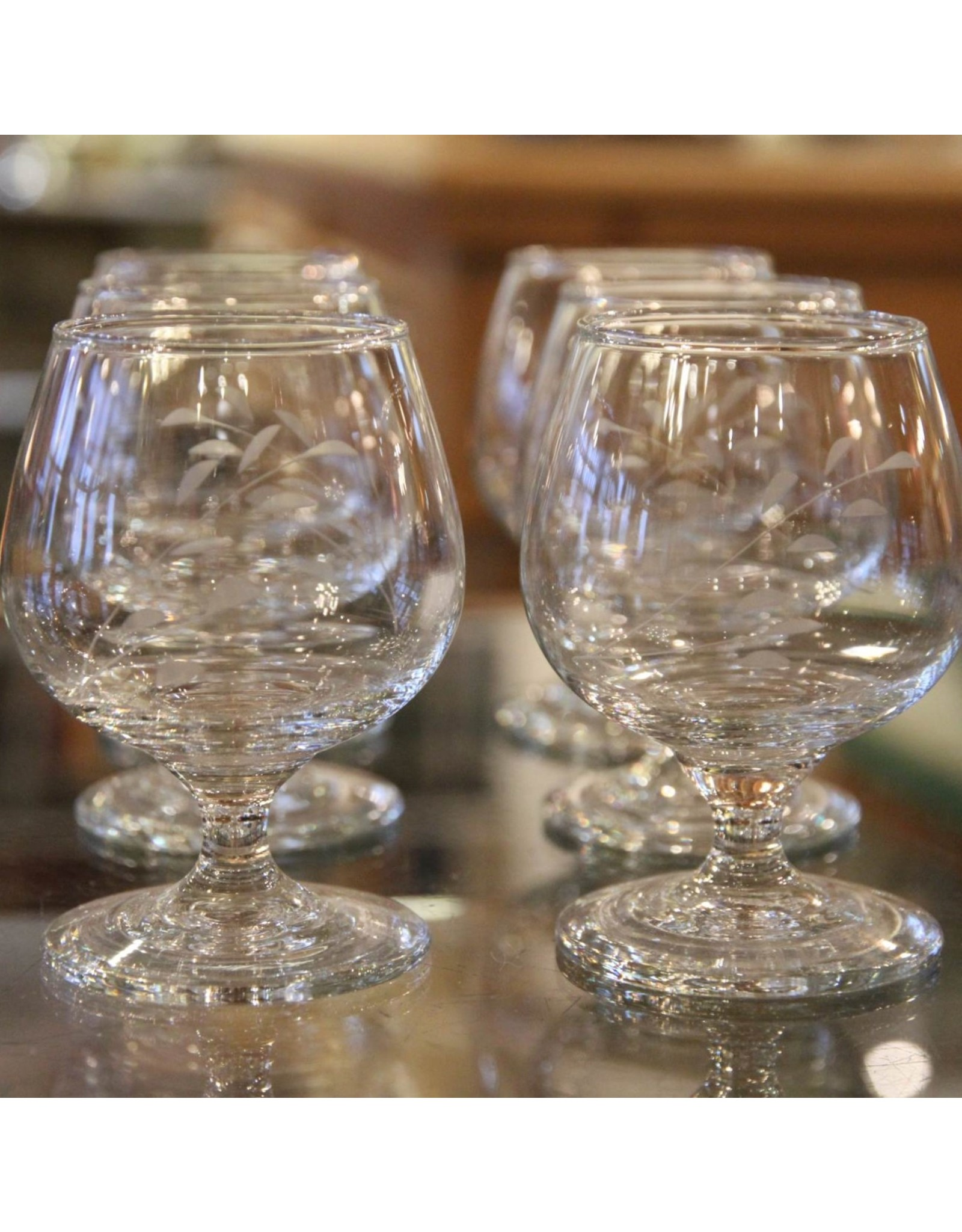 Brandy snifters - set of six, small, glass