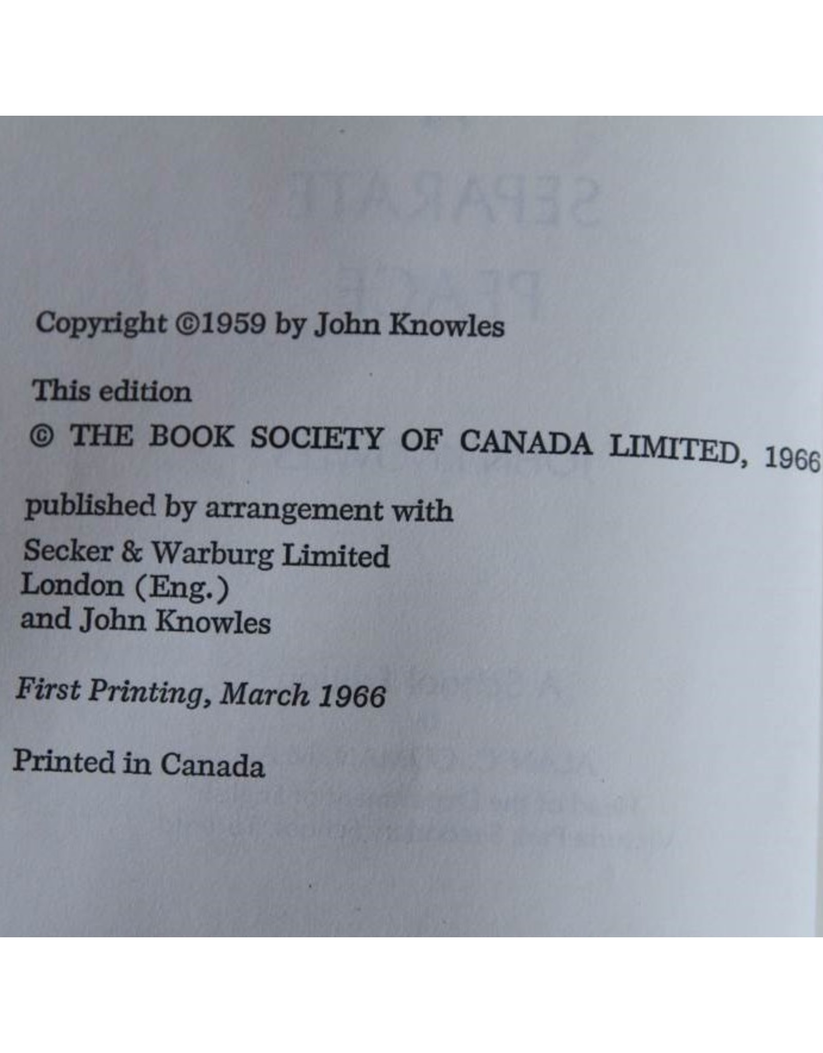 Hardcover book - A Separate Peace Re-Issue John Knowles 1959