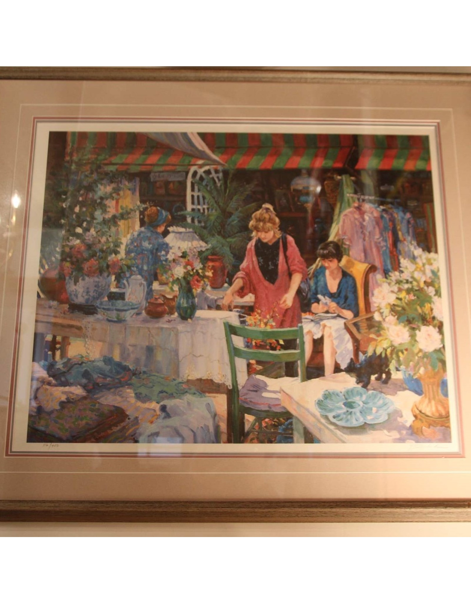 Framed limited edition print - women at cafe, flowers, 116/450