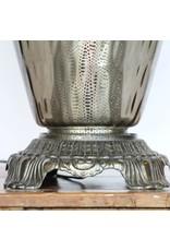 Lamp - table lamp, tall shade, grey glass base