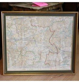 Framed vintage Paris area map