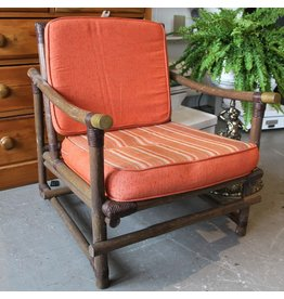 Bamboo upholstered armchair