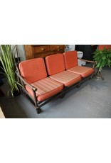 Settee - bamboo, orange cushions, separate sections, brass endcaps