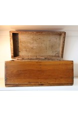 Box with lid - wooden, hinged, old patina