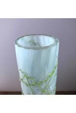 Vase - tall art glass, possibly art nouveau Pallme Konig, light blue & bright green