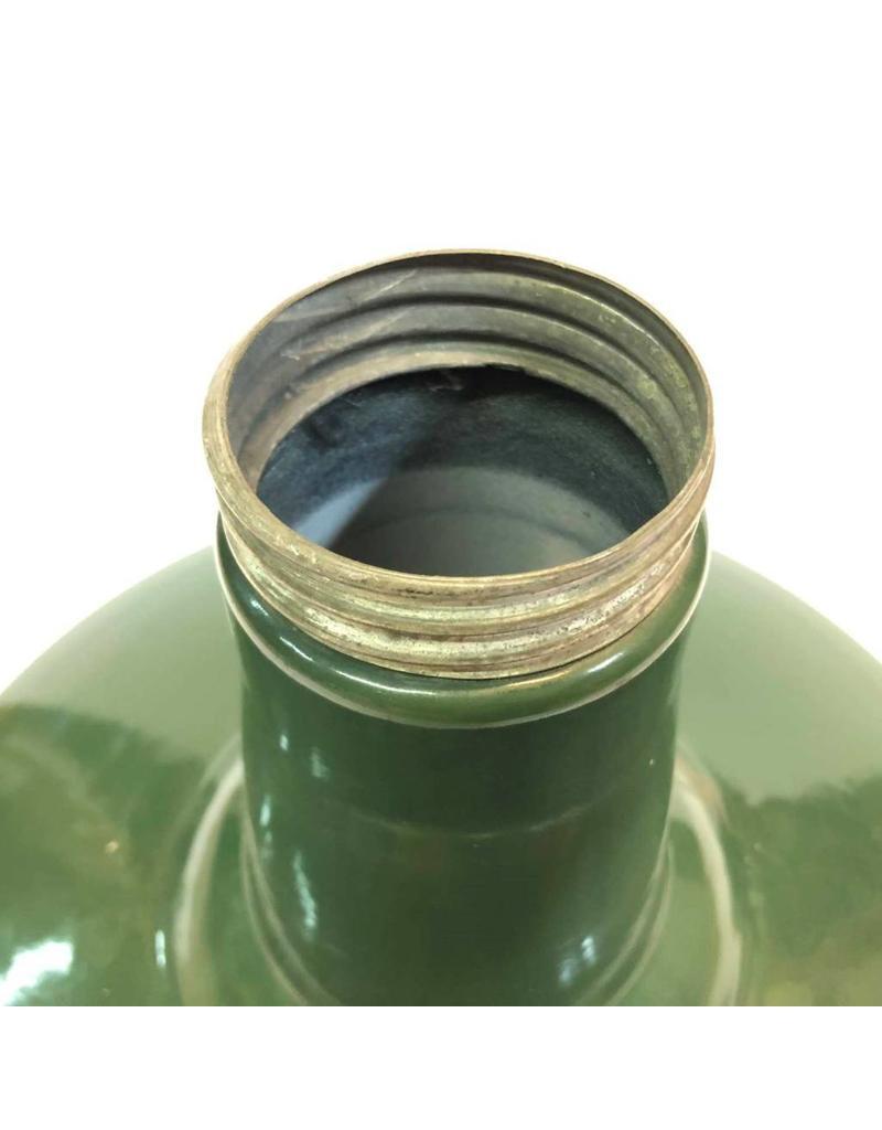 "Enamel lamp shade - 18"", green with dark blue trim"