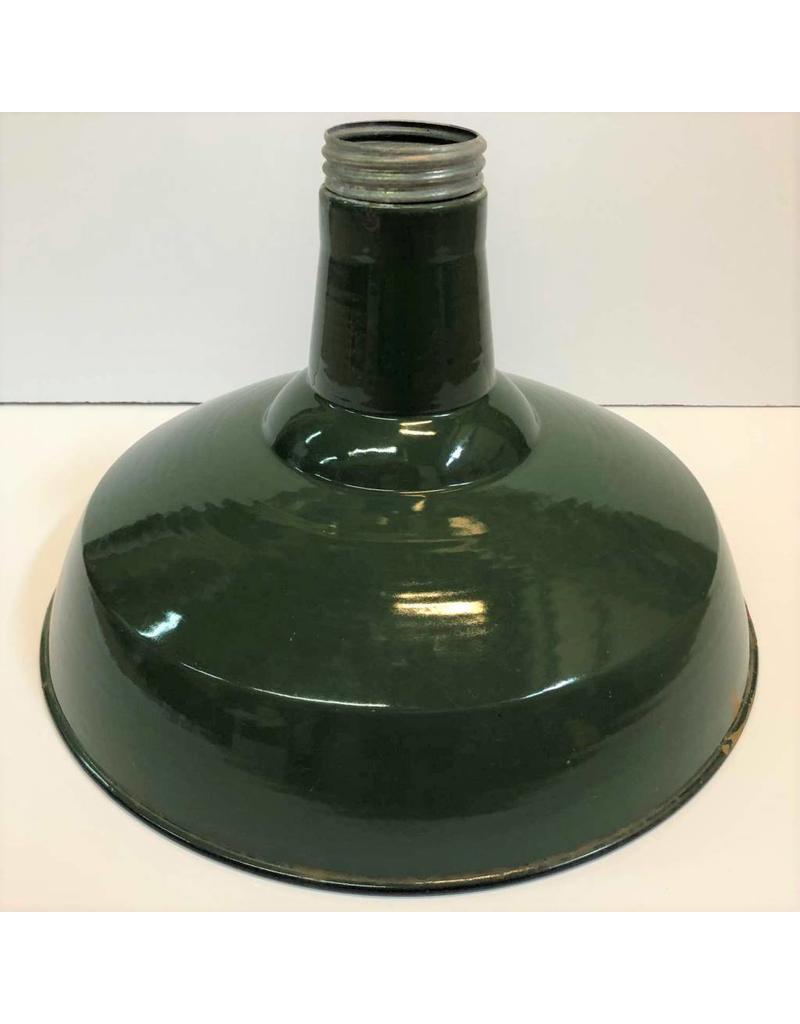 "Enamel lamp shade - green, 16"""