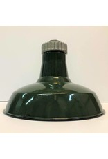"""Enamel lamp shade - green, 12"""", with screw top coupler"""
