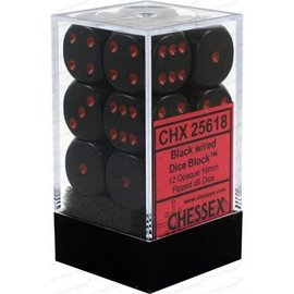 Chessex 12 16mm D6 Dice Block - Opaque - Black/Red - CHX25618