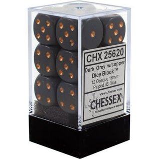 Chessex 12 16mm D6 Dice Block - Opaque - Dark Grey/Copper - CHX25620