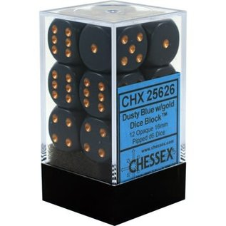 Chessex 12 16mm D6 Dice Block - Opaque - Dusty Blue/Copper - CHX25626
