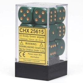 Chessex 12 16mm D6 Dice Block - Opaque - Dusty Green/Copper - CHX25615