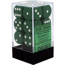 Chessex 12 16mm D6 Dice Block - Opaque - Green/White - CHX25605