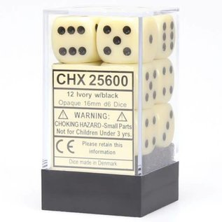 Chessex 12 16mm D6 Dice Block - Opaque - Ivory/Black - CHX25600