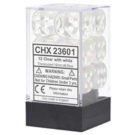 Chessex 12 16mm D6 Dice Block - Translucent - Clear/White - CHX23601
