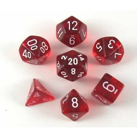 Chessex 7 Set Polyhedral Dice - Translucent - Red/White - CHX23074
