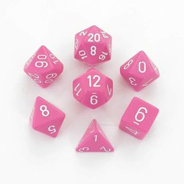 Chessex 7 Set Polyhedral Dice - Opaque - Pink/White - CHX25444