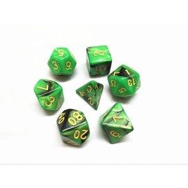 HD Dice 7 Set Polyhedral Dice - Green + Black Blend Gold Font