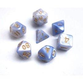 HD Dice 7 Set Polyhedral Dice - Light Blue + White Blend Gold Font